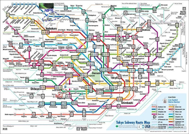 Tokyo Subway Route Map Art Posters Print Photopaper 16 24 36 47