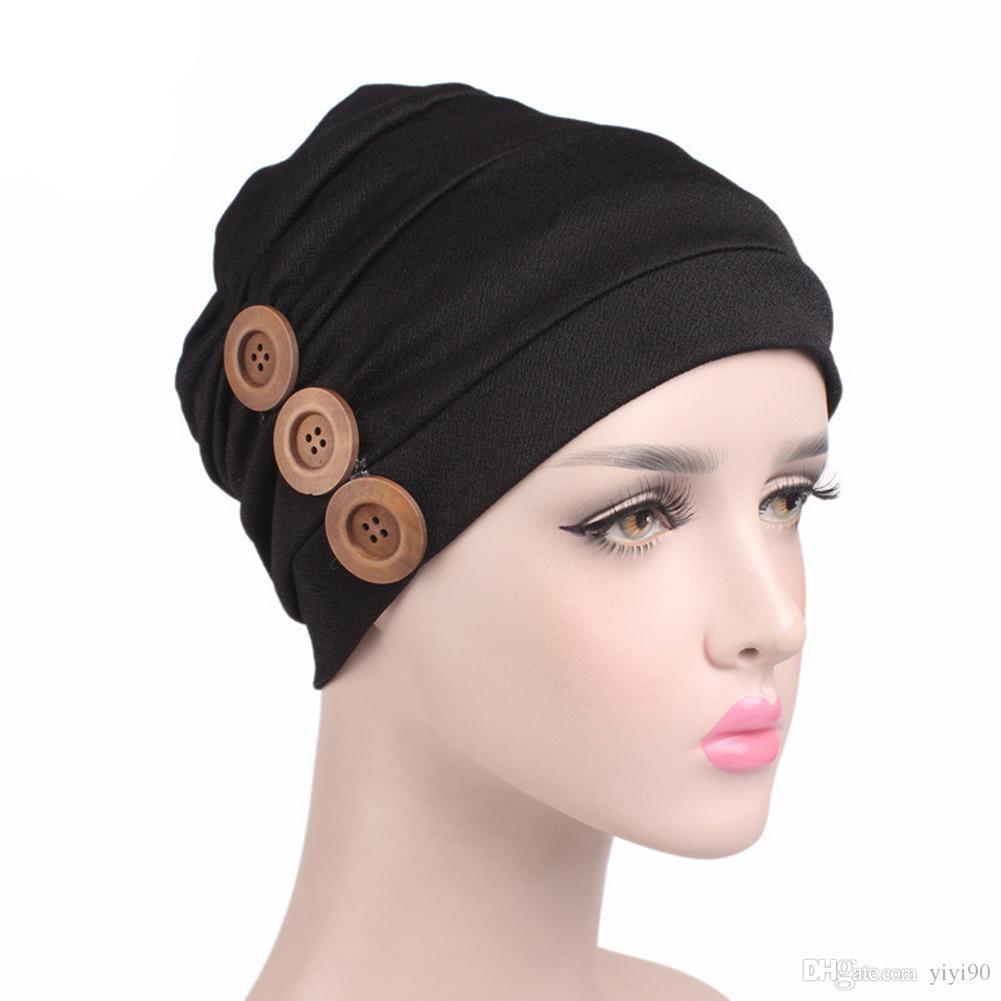 Compre Moda Mujer Musulmana Soft Slouchy Toalla Delantera Turbante Ruffle  Beanie Head Wrap Chemo Cap Liner Para El Cáncer Pérdida De Cabello Señoras  ... 4f99c239e0d
