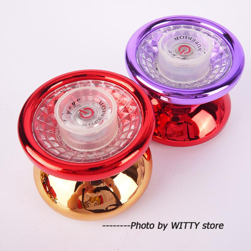 Double-sided LED YOYO 3 Types Lighting Cool Flashing Yoyo Toys For Kids Side Axis Switch Metal Alloy YoYo Ball With String