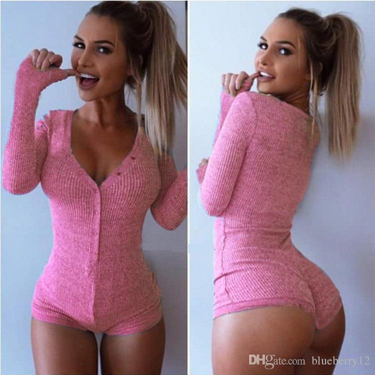 Sexy Choker High Deep V Neck Long Sleeve Single Breast Women Ribbed Bodysuits Playsuits Rompers Jumpsuits