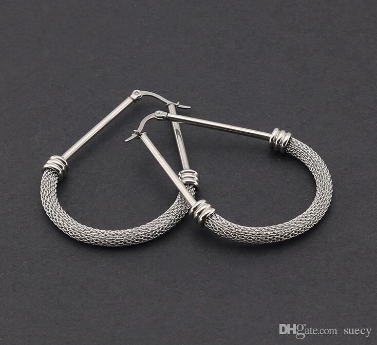 Nueva moda tipo de cadena de serpiente pendiente grande mujer hombre titanio acero inoxidable negro oro rosa dorado triángulo pendiente 10 par / lote
