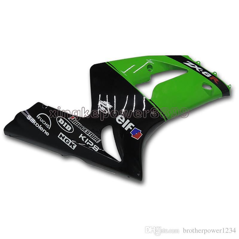 ABS Injection Fairings For Kawasaki ZX6R 2003 - 2004 Green Black Bodywork