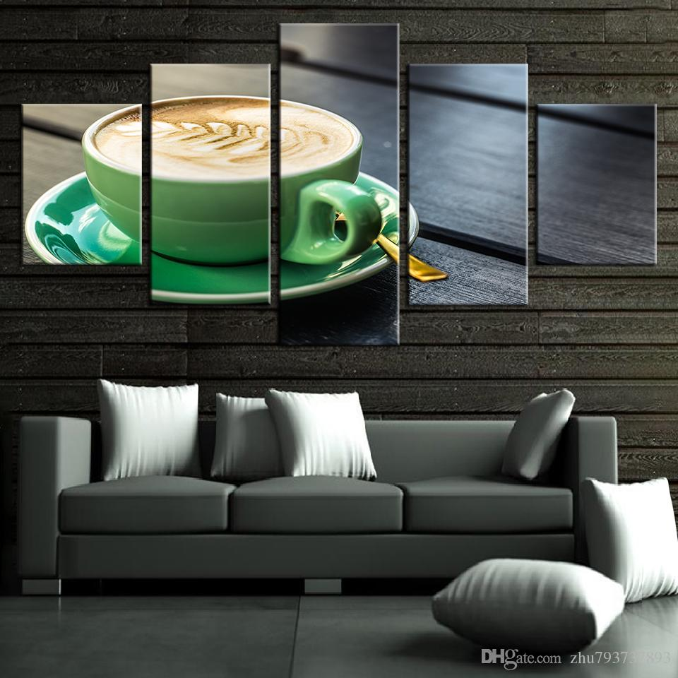 2019 Modern Painting On Canvas Modular Pictures Framework Coffee Cup