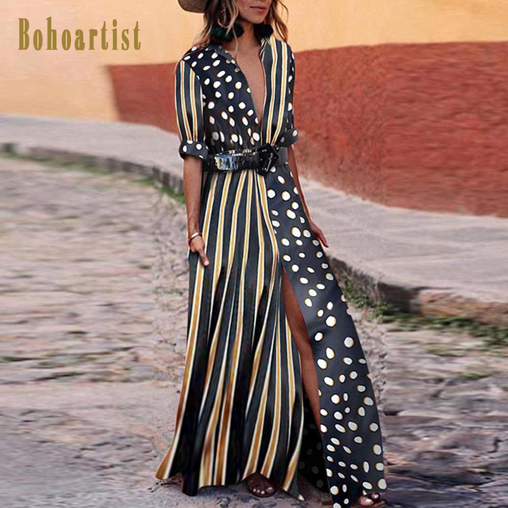 2019 bohoartist women long dress dot v neck loose boho