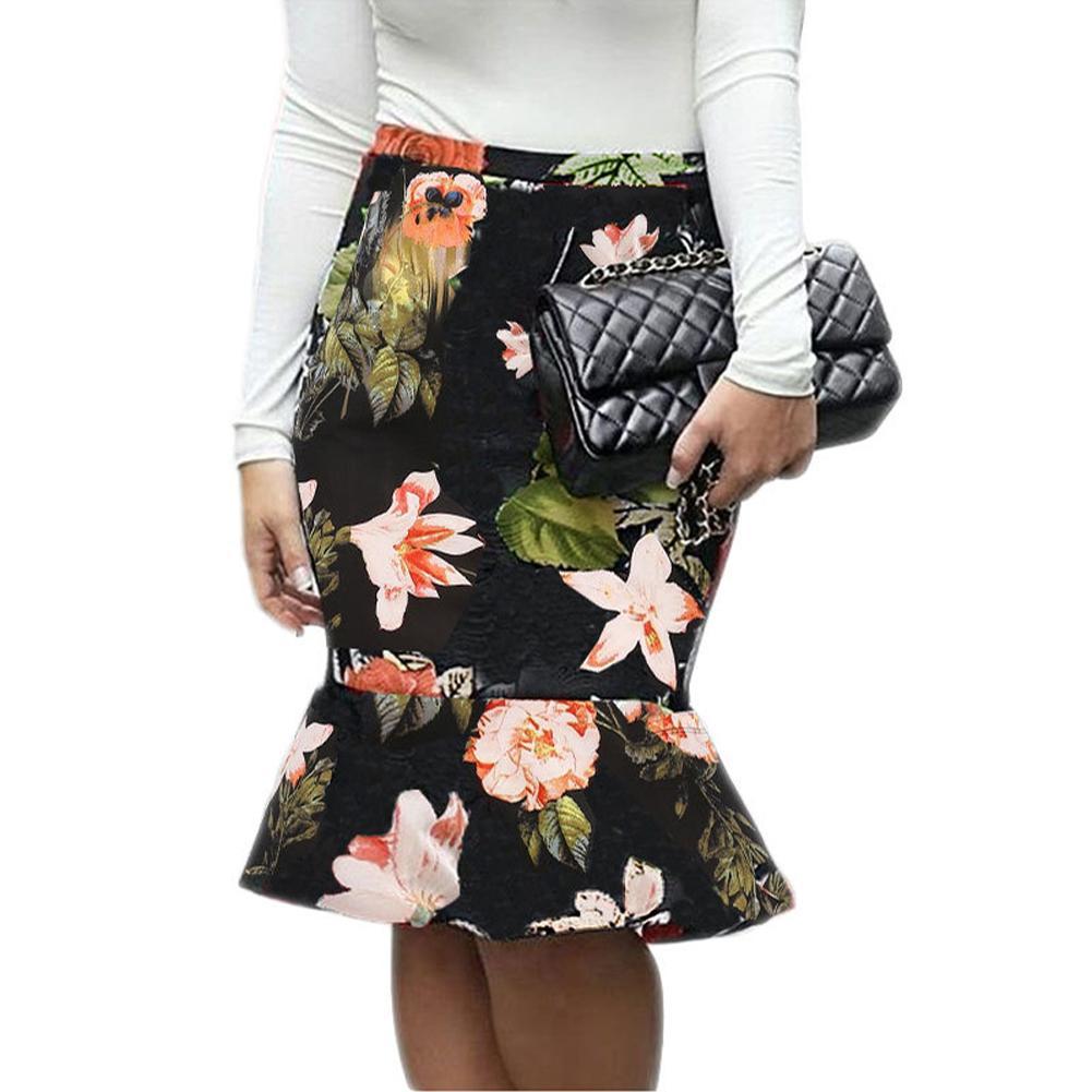 89b807490 Falda sirena de las mujeres Floral Houndstooth Impresión a cuadros Faldas  de cintura alta Slim Fit Bodycon con volantes Elegante falda a cuadros 2019  ...