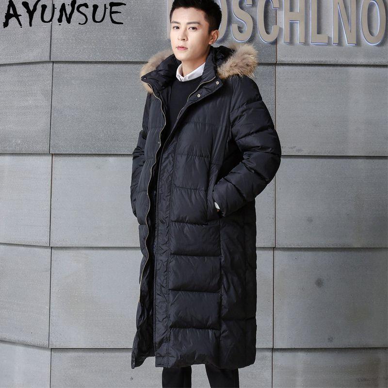 4ac5ac348 AYUNSUE Men s Long Duck Down Jacket Men Thick Korean Winter Down Coat Man  Puffer Long Coats Parkas Casaco Masculino KJ549