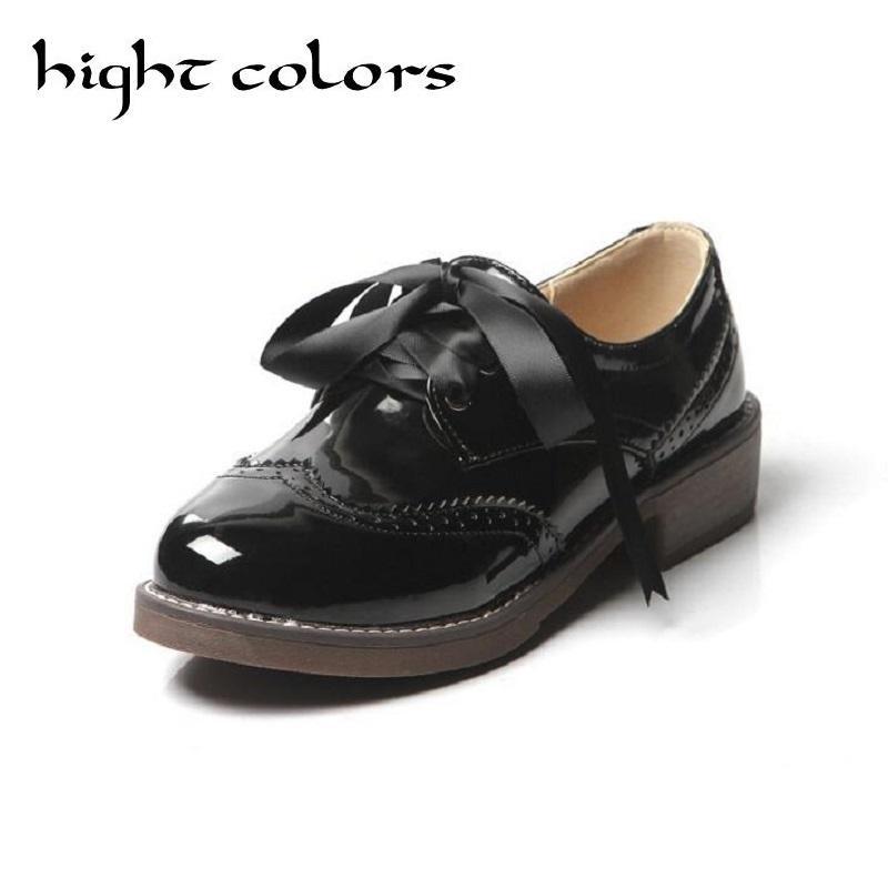 26902c86e Novas Mulheres Sapatos Brogue Ocasional Preto Vermelho Oxfrods Para As  Mulheres Dedo Do Pé Redondo Apartamentos Sapatos De Couro De Patente Retro  Mulher ...