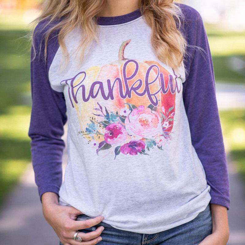 ec7e74b1e 2018 Thankful T Shirts Womens Plus Size Tee Blessed Top Sexy Tops Vintage Shirt  Female Tshirt Long Sleeve Graphic Great T Shirts Buy T Shirt From ...