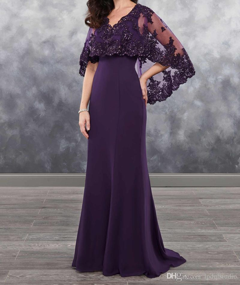 Dark Purple Mother Of The Bride Dresses Chiffon With Bolero Sheer With  Applique Shining Sequins 2018 New Arrival Chiffon Mother S Dress Mothers  Dresses ... a9cc2e0ae1a2