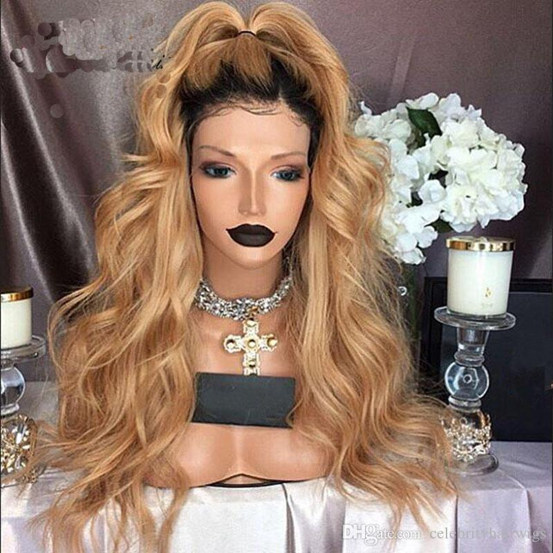 MHAZEl long blonde curly short dark roots black 1b#ombre blonde #27synthetic fiber front wig baby hair