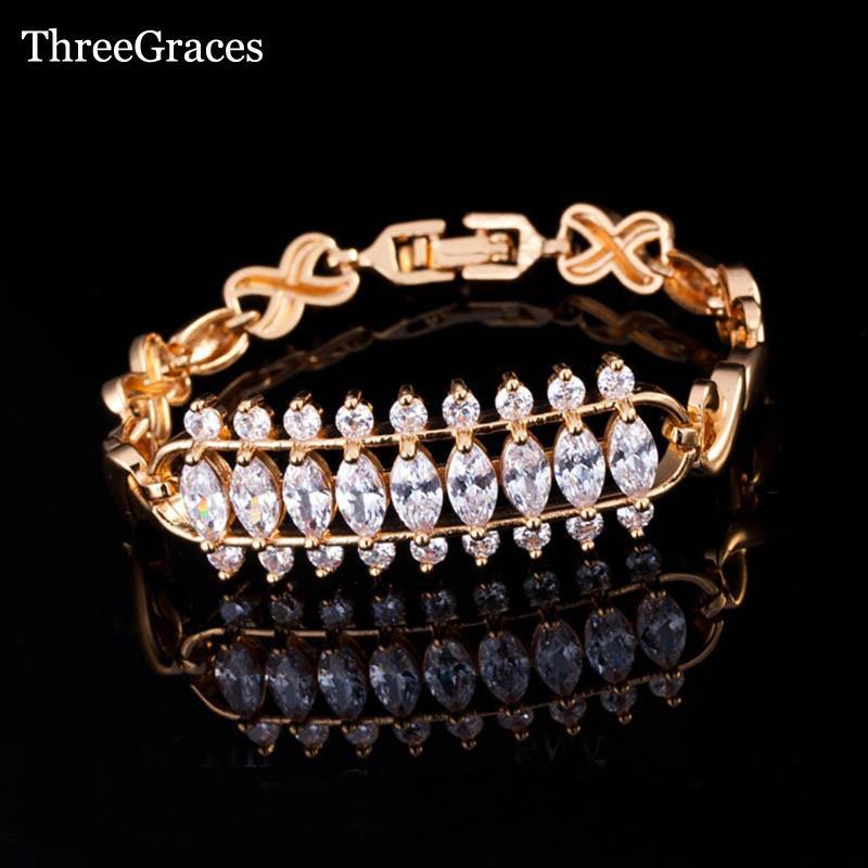 ThreeGraces Elegante Goldfarbe Brautschmuck Clear White 3 Row Runde Und Marquise CZ Kristall Hochzeit Armbänder Für Frauen BR073