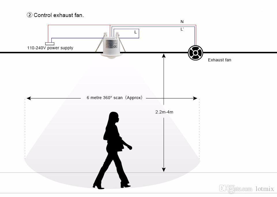 110 В 220 В Потолочный PIR Инфракрасный Датчик Движения Тела Детектор Лампы Выключатель света Патрон лампы Для светодиодной лампы Лампа Автоматическое ВКЛ / ВЫКЛ