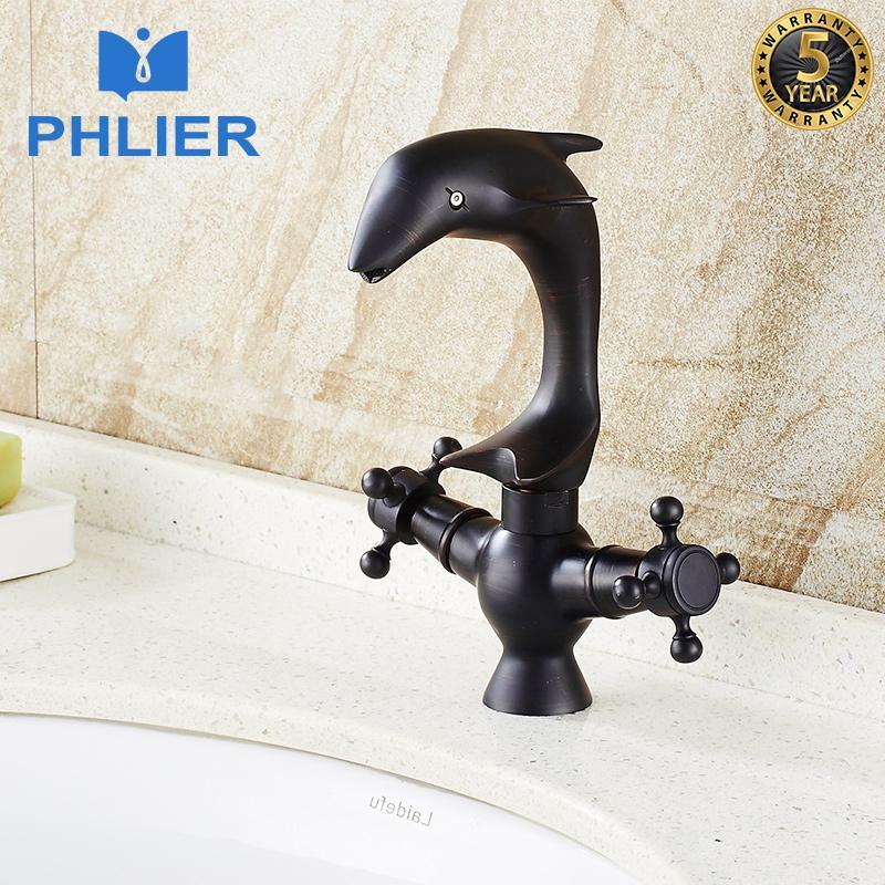2018 Phlier Dolphin Bathroom Vintage Faucet Dual Handle Cross Deck ...