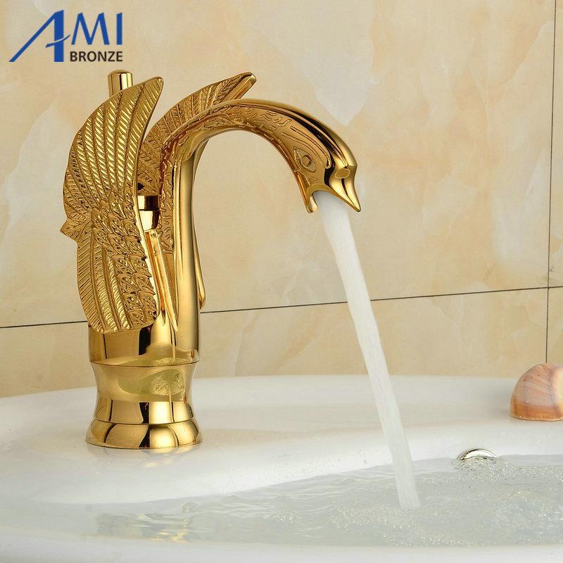 Grosshandel 8 Goldene Polierte Swan Armaturen Badezimmer Waschbecken