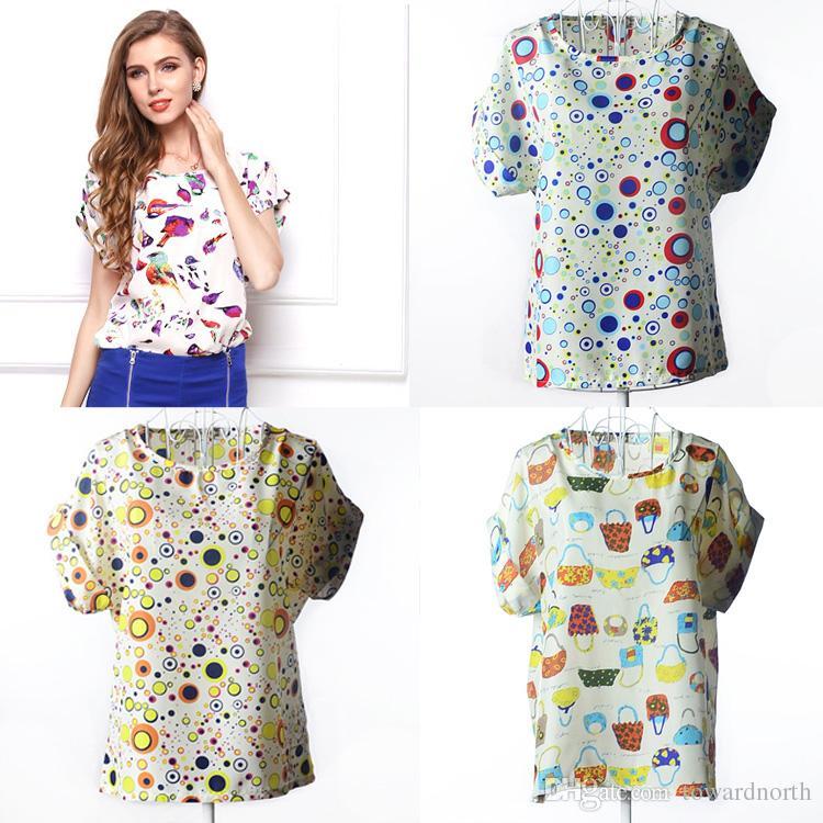 b34361aa62 Women T Shirt Clothes Summer Short Sleeve Chiffon Sleeve Polka Dot Print  Blouse Shirt Tops Fashion Lady Casual Shirt Plus Size Girl Clothing Cotton  Shirt ...