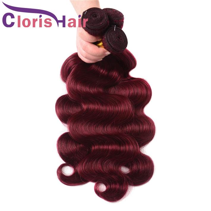 9A Colored Bugundy Hair Extensions Body Wave Human Hair Peruvian Virgin Weft 3 Bundles Unprocessed 99J Wine Red Wavy Remy Human Hair Weaves
