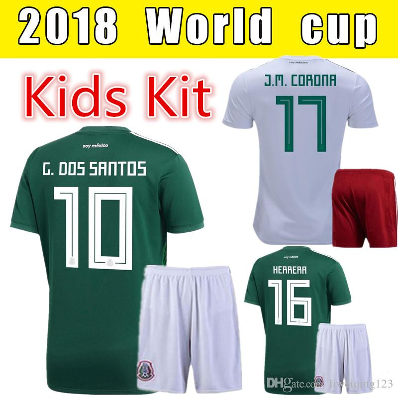 735a510e753 ... discount 2018 2018 world cup mexico soccer jersey kids set green away  home g. dos