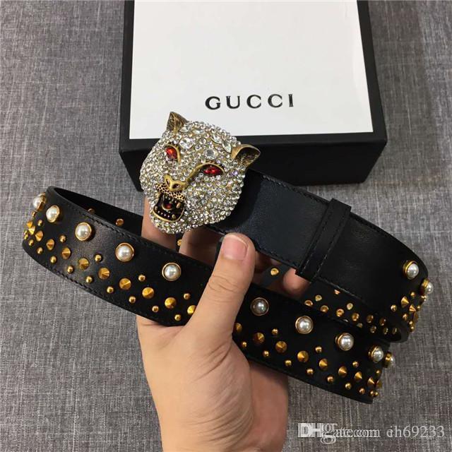92a16cb2107 Hot Top Luxury Designer Designer Men S Leather Belt Tiger Head Button  Crystal Lady Fashion Belt Weight Lifting Belts Sauna Slim Belt From  Ih69233