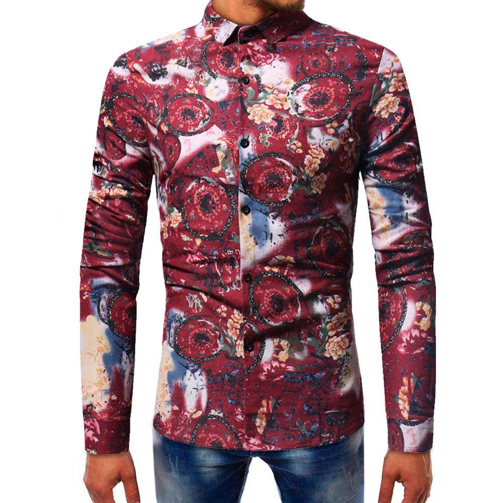 bde09418fd34d Compre Moda Para Hombre Impreso Blusa Casual Manga Larga Camisas Delgadas  Tops Hombres Ropa 2018 Hombres Camisa De Manga Corta Camisa Hawaiana A   28.83 Del ...