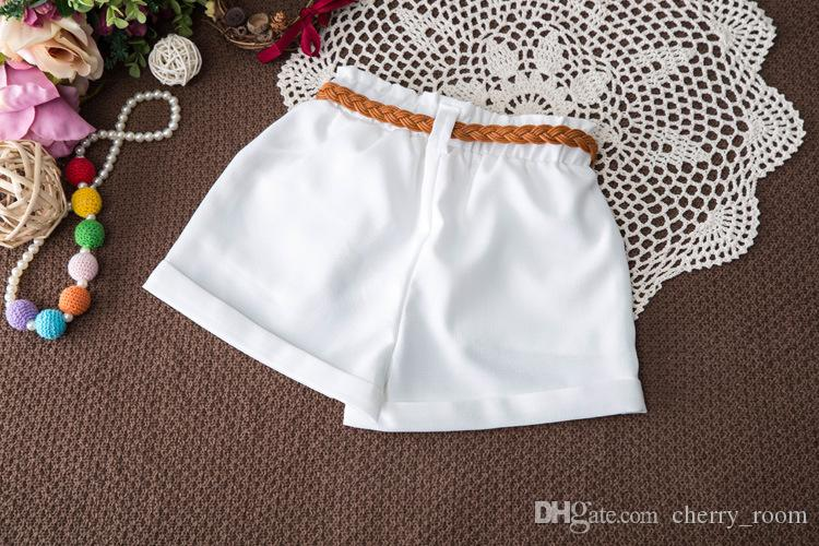 Coreano Pricness Sets Outfit Girls Clothing Set Lotus Collar Tops florales sin mangas + Pantalones cortos blancos con cinturón para niña Summer Sets A9007