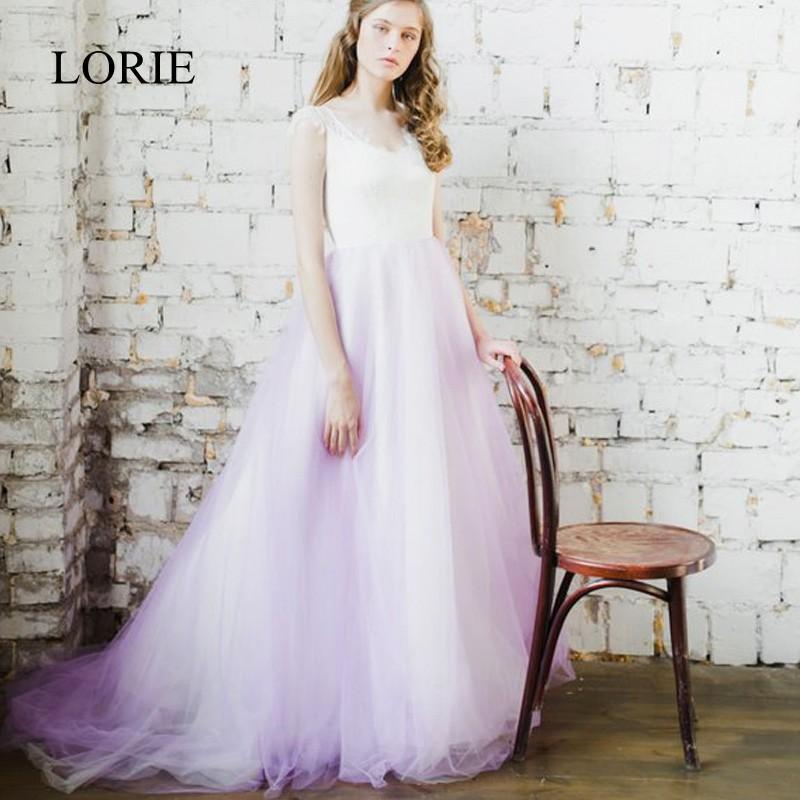 compre venta al por mayor vestidos de novia de playa blanco y lila