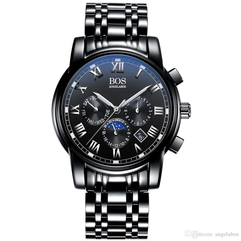 Angela BOS Men's Quartz Analog Wrist Watch Chronograph Stainless Steel Black Band Black Dial Can OEM