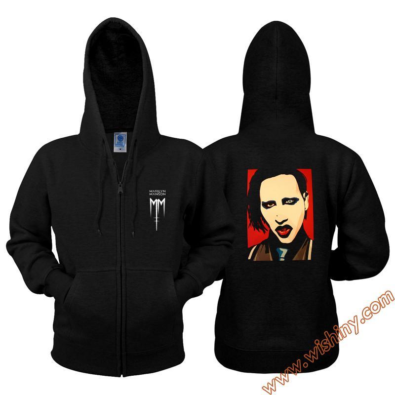 online cute how to purchase Cool Marilyn Manson Hoodie men balck fleece Rock Heavy Metal Band Hooded  Sweatshirt