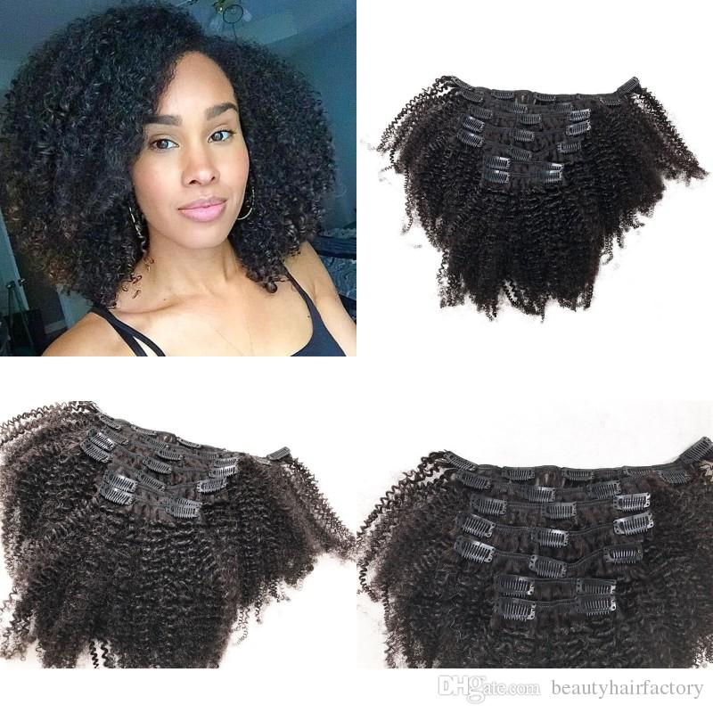 Afro Kinky Curly Mongolian Human Hair Natural Color Clip Ins Hair