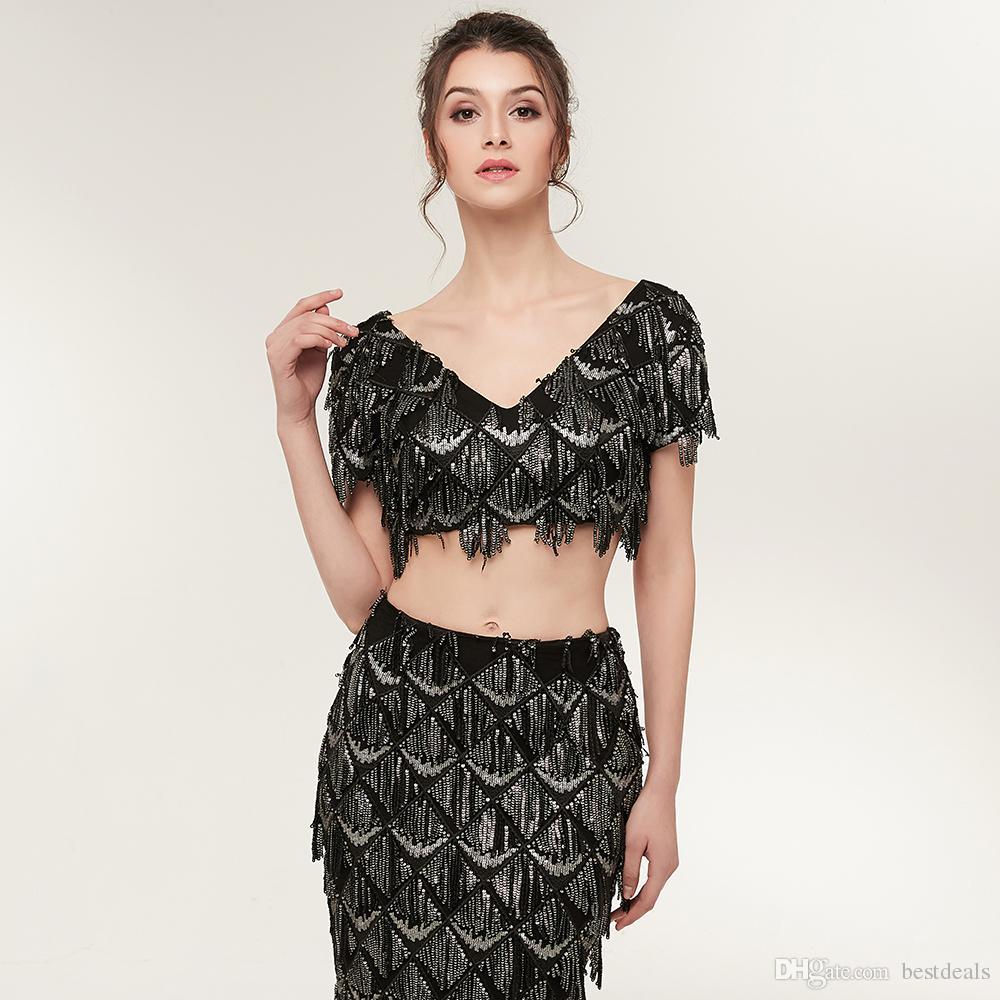 Neue Ankunft Luxus Schwarz Zwei Stücke Prom Kleider Meerjungfrau Perlen Kristall Abendkleider Frauen Arabisch Party Kleid CPS935