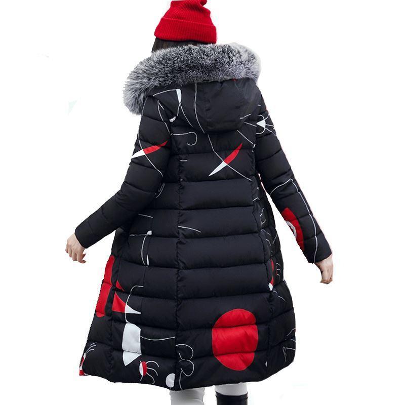 best website b3228 342b0 Mit Fell Kapuze Frau Winter Jacke Damen Mantel Plus Größe 3XL Gepolsterte  lange Parka Outwear für Frauen Jaquata Feminina Inverno