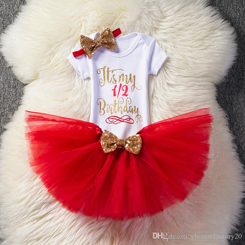 Baby Girls Letter Romper +TuTu Skirts+Headbands Sets Kids Birthday Printed Bubble Skirts Bow Tulle Dress Outfits