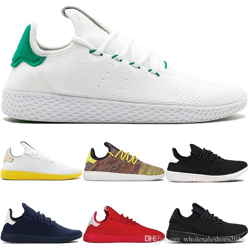 another chance 91a75 5aa71 2018 New Pharrell Williams x Stan Smith Tennis HU Primeknit Men Women  Running Shoes White Green Breathable Mesh Sports Sneaker size 36-45