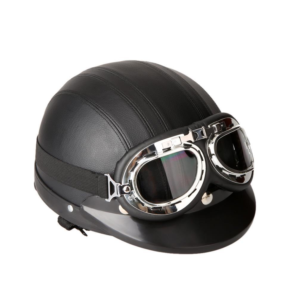 Dirt Bike Helmet With Visor >> Motorcycle Scooter Helmet With Visor Uv Goggles Retro Motocross Off