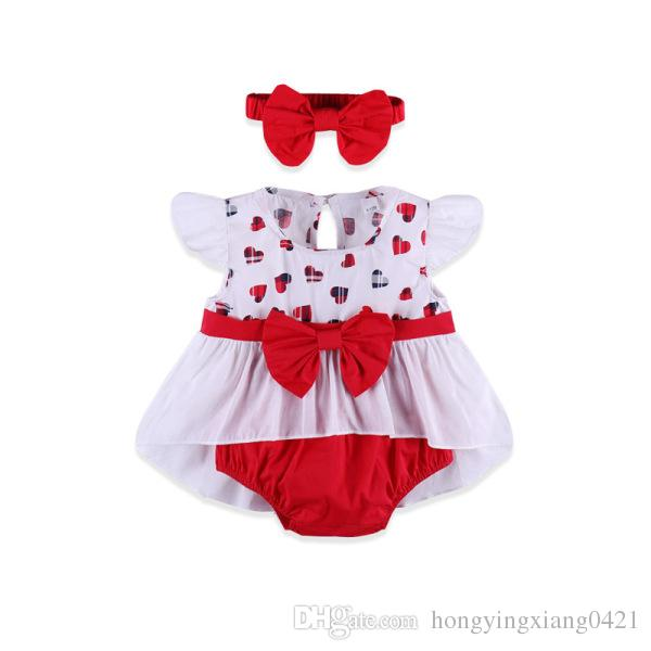 New 0-2Y Newborn Infant Baby Girl Princess Clothes Summer Love Heart Dress Tops+High Waist Shorts Bottom Headband 3PCS Outfits Set CX1222