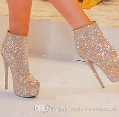 2018 Eye-sighted Women Bling Bling Crystal Short Boots Open Toe Stiletto Heels Ankle Boots Shining Diamond Dress Pumps Bridal Shoes