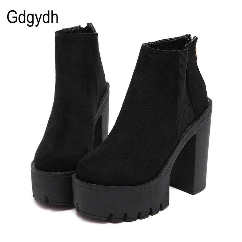 806ec98907e Compre Gdgydh Fashion Botines Negros Para Mujer Tacones Gruesos 2018 New  Autumn Flock Platform Shoes Tacones Altos Black Zipper Botas De Mujer A  $75.05 Del ...