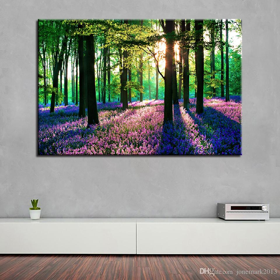 Canvas Pictures Living Room Wall Art HD Prints /Pcs Lavender Sun Forest Painting Home Decor Tree Scenery Poster Framework