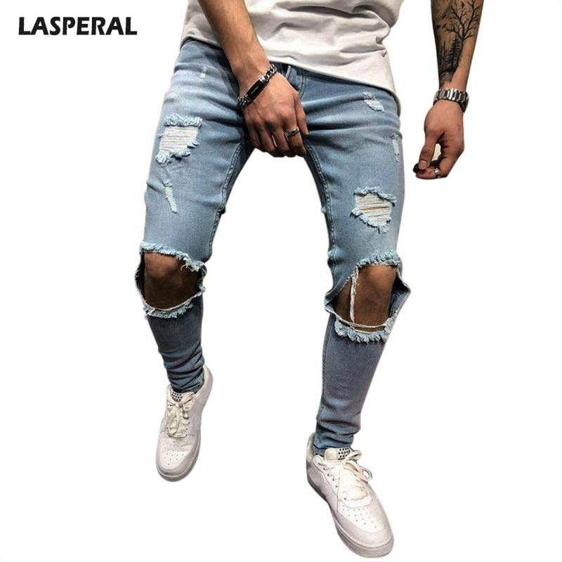 a08f936a0fa96 2019 LASPERAL Mens Knee Holes Distressed Denim Joggers Plus Sieze 4XL  Ripped Jeans Men Pants 2018 Fashion Brand Male Jeans Bottom From Bida Amy