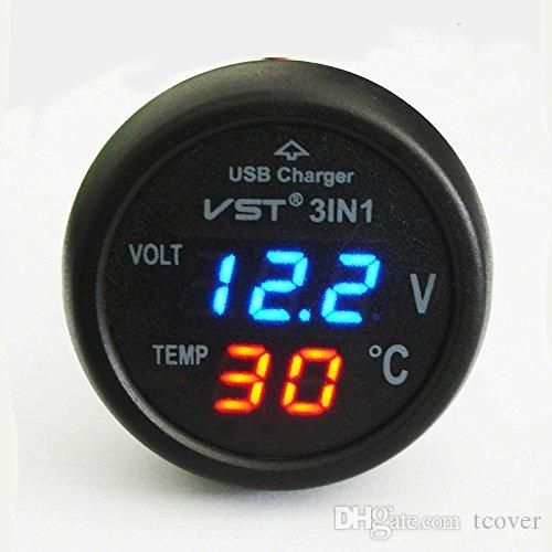 ZOOKOTO Universal Red Cigarette Lighter Car usb port charger Digital LED Display Voltmeter Thermometer 12V-24V Battery Voltage Tester