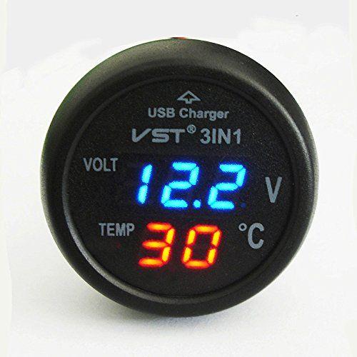 Rote blaue LED-Anzeige LED Voltmeter Autothermometer Auto Auto 12V//24V Ziga ♞
