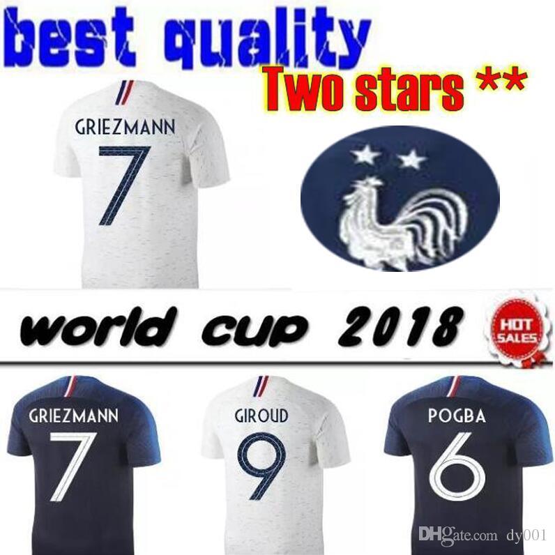 New 2019 GRIEZMANN MBAPPE POGBA Soccer Jerseys 2018 World Cup Shirts ... 2c46934d4