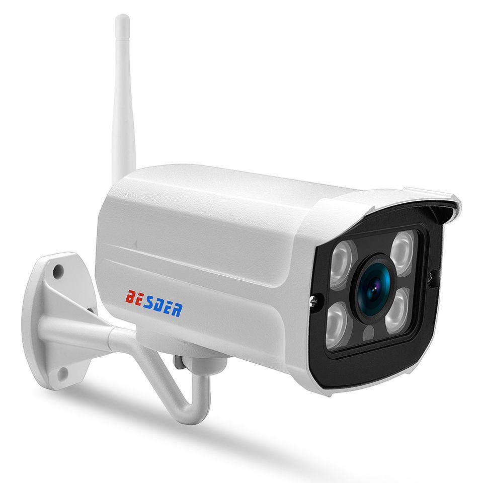 BESDER 1080P 960P 720P Wire&Wireless IP Camera IR 25m Metal Waterproof IP66  Wifi CCTV Security IP Camera 64G TF Card Slot CamHi