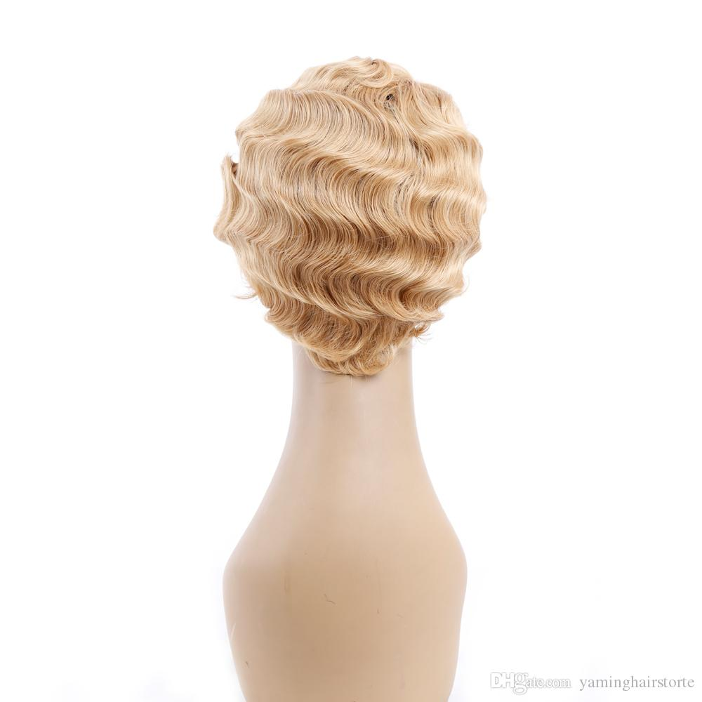 곱슬 가발 짧은 금발 가발 손가락 파도 가발 합성 머리 아프리카 계 미국인 여성 코스프레 가발 열 저항