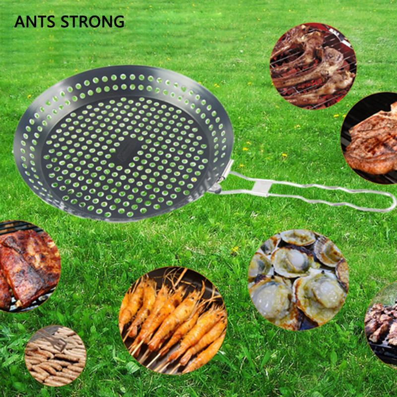 2018 Ants Strong Foldable Round Bbq Grill Pan Outdoor Stainless Steel Barbecue Plate Vegetable Basket Tray From Herbertw 50 13 Dhgate Com