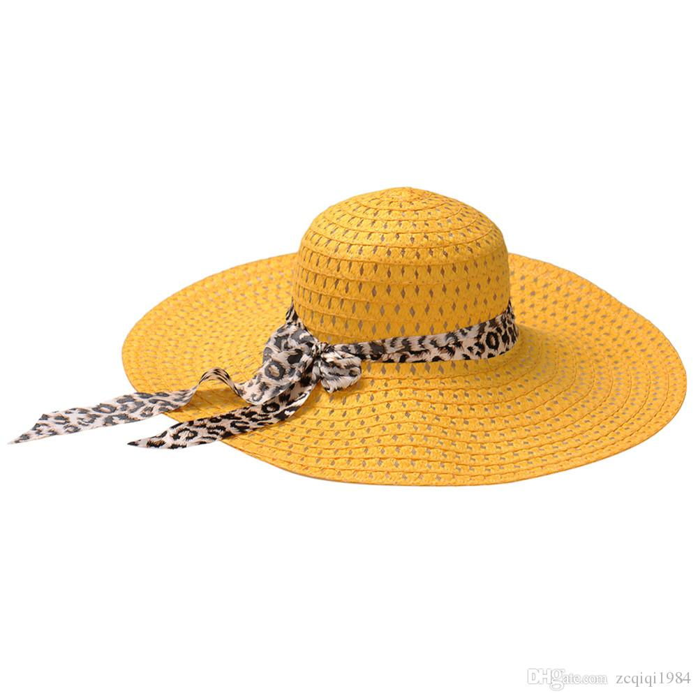 كبير بريم مرن أضعاف قبعة الشمس الصيف القبعات للنساء حماية سترو قبعة المرأة قبعة الشاطئ