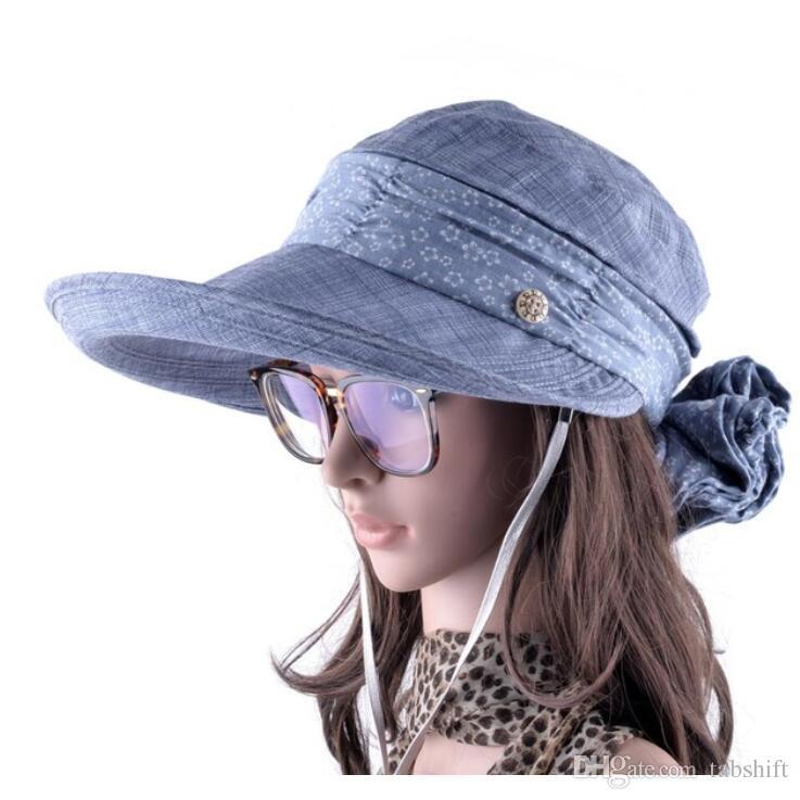 Acquista Cappelli Da Sole Con Protezione Il Collo Del Viso Le Donne  Cappellino Estivo Il Sombrero A Tesa Larga Cappellini Esterni Anti Uv  Chapeu Feminino A ... 4d2f4da3a688