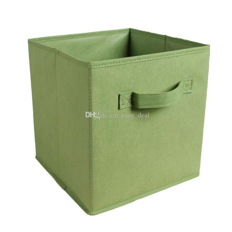 Cube Non-woven Fabric Folding Storage Bins for Books Underwear Bra Socks Clothes Organizer Toys Storage Box Baskets QW7257