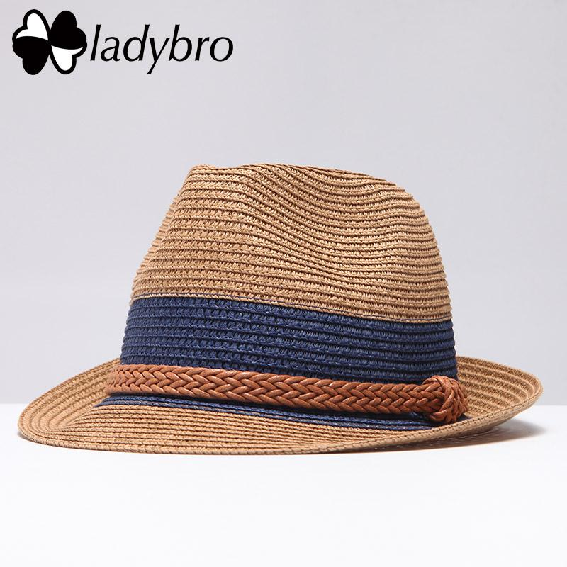 Ladybro Summer Jazz Women Straw Hat Beach Men Sun Hat Casual Panama Male Cap  Hemp Rope Patchwork Striped Straw Hat Visor Cap Visor Cap Womens Straw Hats  Sun ... aedfc4f3ae44