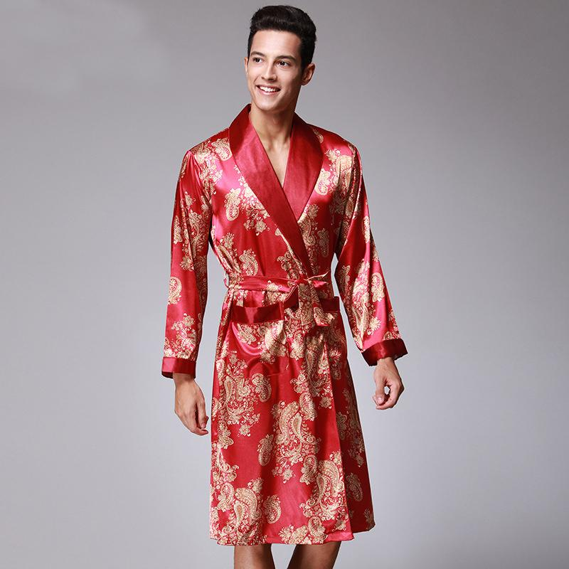 4d5b2ab233 SSH070 NEW Satin Silk Robe Male Spring Autumn Long Sleeve Sleepwear ...