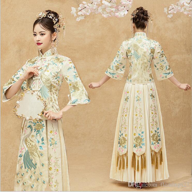 Kimono Wedding Gown: 2019 New Elegent Champagne Wedding Dress Chinese Bride
